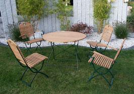 Sitzgruppe  5 teilig Holz Robinie Gestell dunkelgrün
