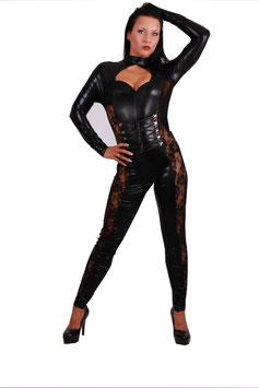 Catsuit in Lackleder Optik Jumpsuit Overall in schwarz