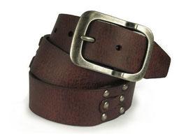 Attraktiver Ledergürtel aus echtem Leder mit dekorativer Nietung in braun 105 cm