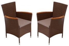2 Stück Polyrattan Sessel in braun