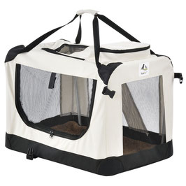 faltbare Hundetransportbox in beige 42 x 60 x 44 cm
