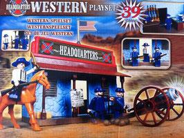 Western Spielset Kinder Spielzeug Figuren Häuser 39 teilig Army