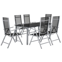 Klappbare Gartengarniture Sitzgruppe Alu / Metall 7-teilig