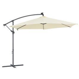 LED Ampelschirm Sonnenschirm Durchmesser 300 cm mit Kurbel und Fuß in creme