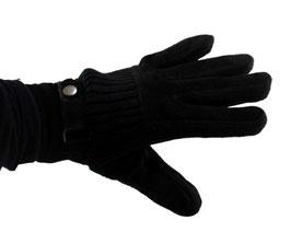 Damen Lederimitat Handschuh in schwarz