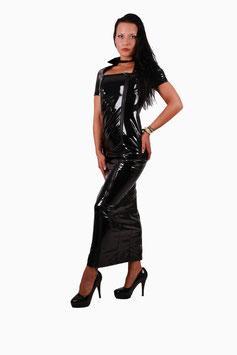 Gogo Kleid in Lackleder-Optik mit zwei Reißverschlüssen in schwarz