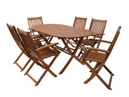 Klappbare Gartengarnitur Sitzgruppe 7teilig Akazie