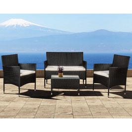 Polyrattan Gartenmöbel Lounge Sitzgruppe in schwarz