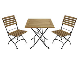 Sitzgruppe Holz Teak 3-teilig Gestell Flachstahl schwarz