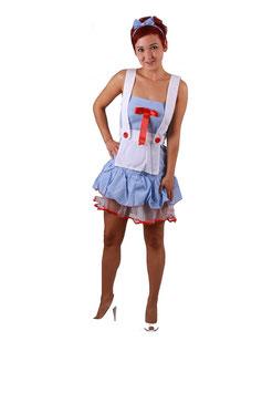 Zimmermädchen mit blaukariertem Minikleid Größe 34