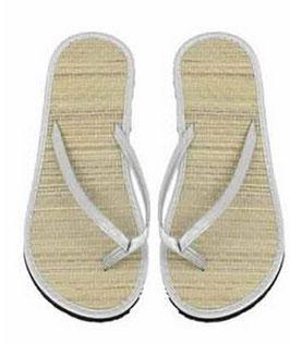 1 Paar Zehentreter Fußbett Bast Sohle Kunststoff in weiß Größe 36