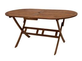 Holz Gartentisch 160 cm x 85 cm, oval, Akazie geölt