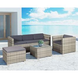 Polyrattan Lounge Gartenmöbel mit dunkelgrauen Bezügen