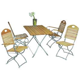 Sitzgruppe Holz Robinie 5-teilig Gestell verzinkt