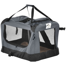 faltbare Hundetransportbox in dunkelgrau 50 x 70 x 52 cm