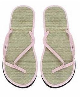 1 Paar Zehentreter Fußbett Bast Sohle Kunststoff in rosa