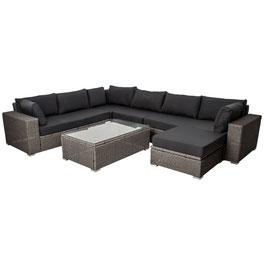 Polyrattan Gartenmöbel Lounge Sitzgruppe grau für sechs Personen