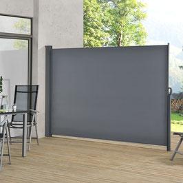 Seitenmarkise anthrazit für Terrasse, Balkon und Garten 180x300cm