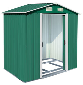 Gerätehaus Geräteschuppen aus Metall in grün/weiß 132 x 204 x 185,5 cm