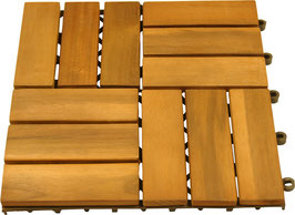 10 Stück Bodenfliesen Holzfliesen Akazienholz 30 x 30 cm