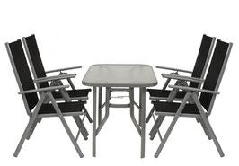 klappbare Gartengarniture Sitzgruppe Alu / Metall 5-teilig