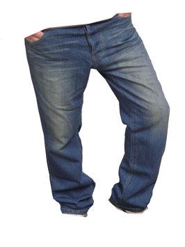 Jeans Hose Used Look in blau Größe W30 L34
