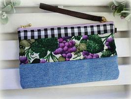 デニムとパッチワークのリストレットぽーち/ぶどう-紫