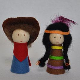 Vingerpopjes Cowboy & Indiaan