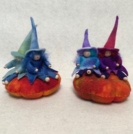 Twee heksen klein op pompoen