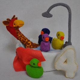 Alle dieren leren tellen: Gina Giraf telt 4 bad eendjes