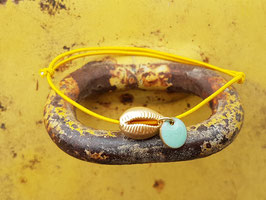 Armband Kaurimuschel gelb