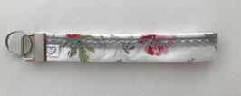 Schlüsselanhänger weiss mit Blumenmuster