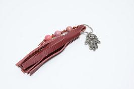 Schlüsselanhänger Lederquaste rot