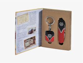 VOLKSWAGEN Schlüsselanhänger+Taschenmesser Geschenkset (9323)