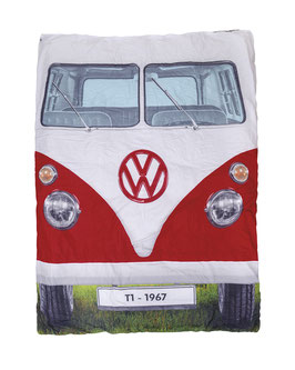 VW T1 BUS DOPPELSCHLAFSACK - BLAU/ROT, (OL0183)