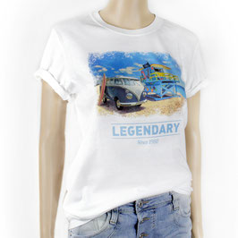 VW T1 BUS T-SHIRT UNISEX  - STRAND/WEISS (BUTS11)