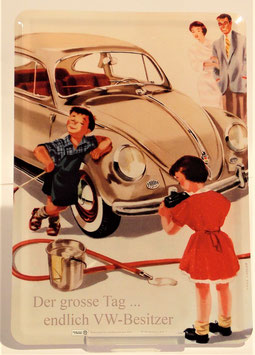Blech-Postkarte Volkswagen, Käfer, 10 x 14 cm