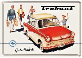 """Blechpostkarte Trabant, """"Gute Fahrt""""  10 x 14cm"""