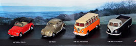 4er Set VW Bulli & VW Käfer, Schuco 1:72, (363339)