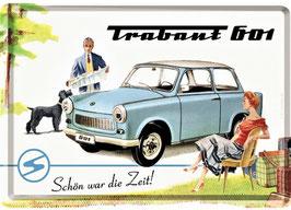 """Blechpostkarte Trabant, """" Schön war die Zeit""""  10 x 14cm"""