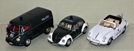 3er Set Schuco, VW Polizei Bulli, Käfer & Porsche