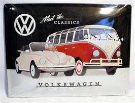 Blechschild Volkswagen, Käfer & Bulli, 30 x 40cm