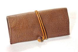 Tabaktasche aus Leder - braun gemustert/hellbraun