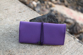 Tabaktasche aus Kunstleder und Leder - lavendel/lila - Glasperlen