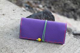Tabaktasche aus Kunstleder und Leder - lavendel/gelb