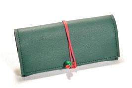 Tabaktasche aus Kunstleder - grün/rot