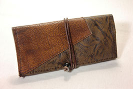 Tabaktasche aus Leder - dreifarbig- hellbraun/braun/dunkelbraun