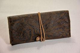 Tabaktasche aus Leder - dunkelbraun gemustert/hellbraun