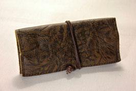 Tabaktasche aus Leder - dunkelbraun gemustert/grau