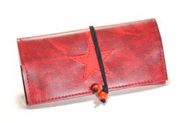 Tabaktasche aus Kunstleder mit Stern - weinrot/rot